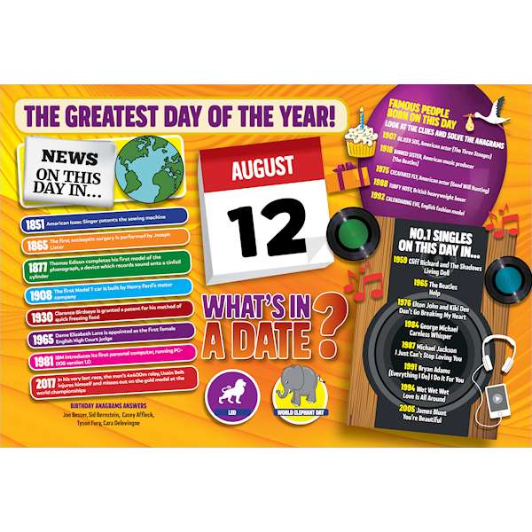 WHAT'S IN A DATE 12th AUGUST STANDARD 400 PIECE Image