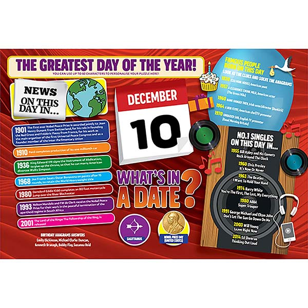 WHAT'S IN A DATE 10th DECEMBER PERSONALISED 400 PIECE Image