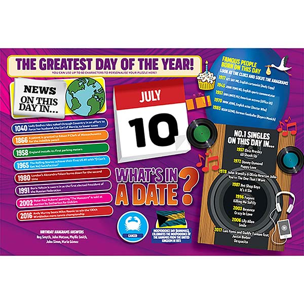 WHAT'S IN A DATE 10th JULY PERSONALISED 400 PIECE Image