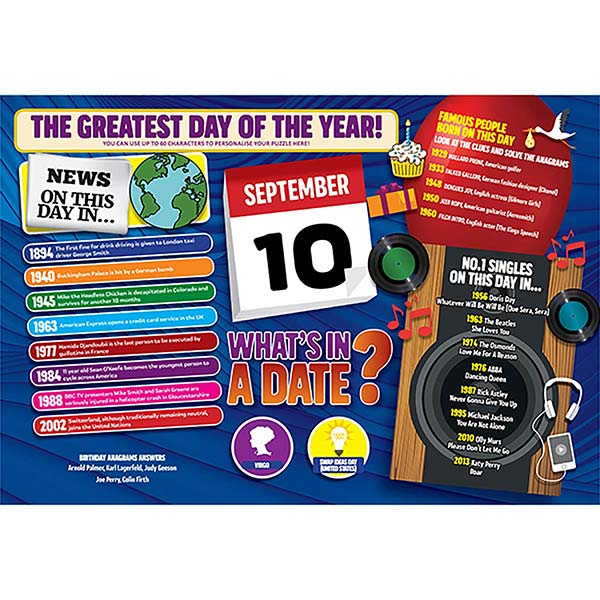WHAT'S IN A DATE 10th SEPTEMBER PERSONALISED 400 PIECE Image