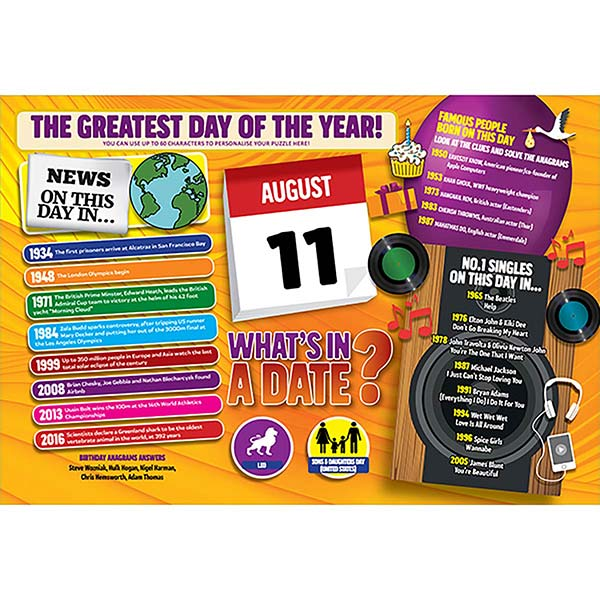 WHAT'S IN A DATE 11th AUGUST PERSONALISED 400 PIECE Image