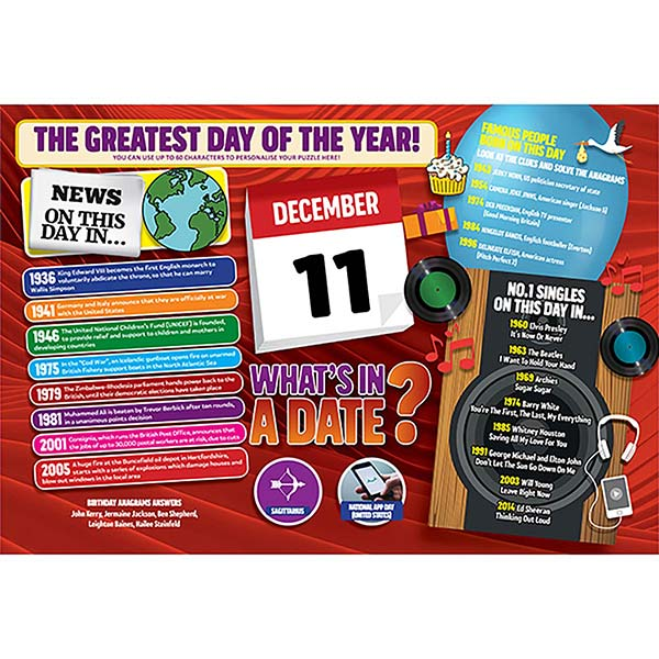 WHAT'S IN A DATE 11th DECEMBER PERSONALISED 400 PIECE Image