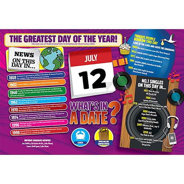 WHAT'S IN A DATE 12th JULY PERSONALISED 400 PIECE Image