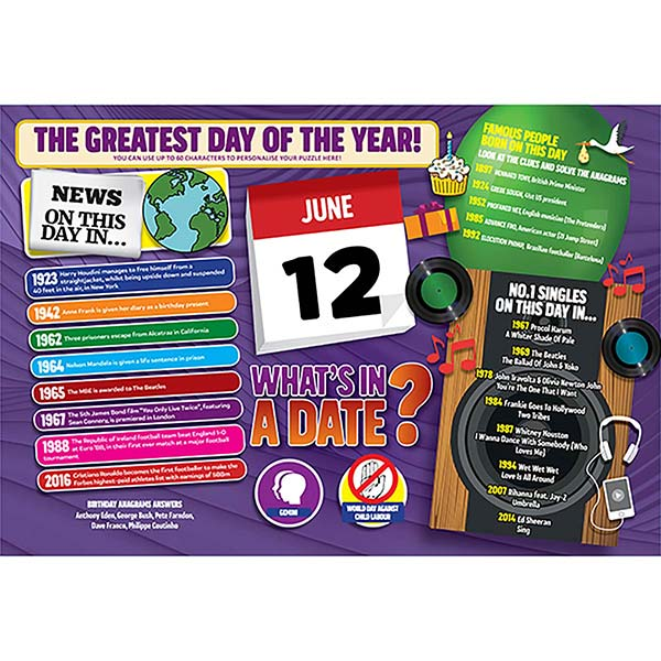 WHAT'S IN A DATE 12th JUNE PERSONALISED 400 PIECE Image