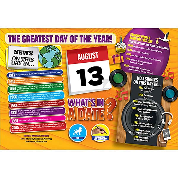 WHAT'S IN A DATE 13th AUGUST STANDARD 400 PIECE Image