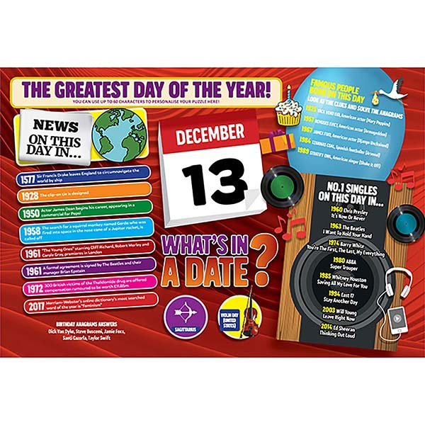 WHAT'S IN A DATE 13th DECEMBER PERSONALISED 400 PIECE Image