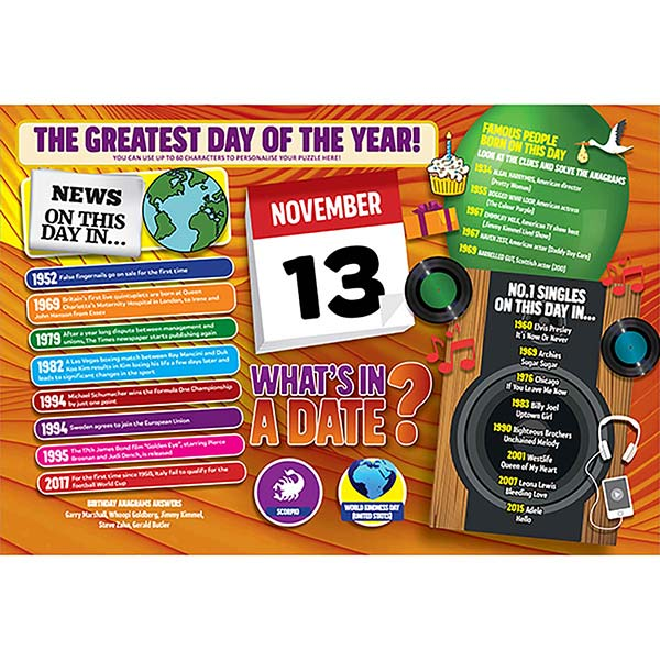 WHAT'S IN A DATE 13th NOVEMBER PERSONALISED 400 PIECE Image
