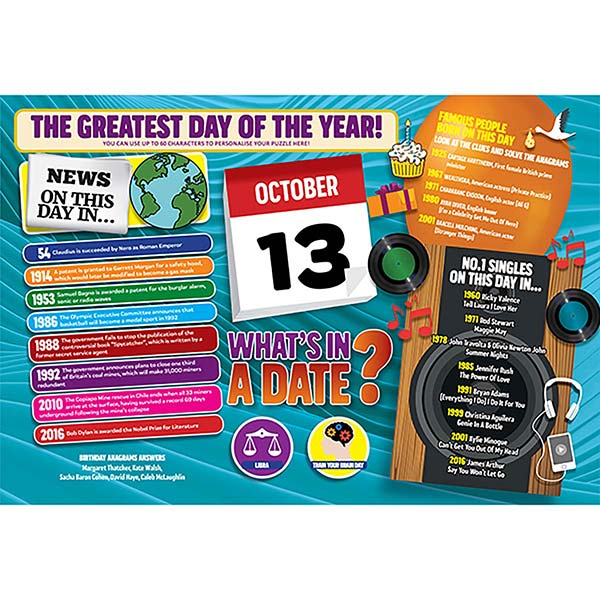 WHAT'S IN A DATE 13th OCTOBER PERSONALISED 400 PIECE Image