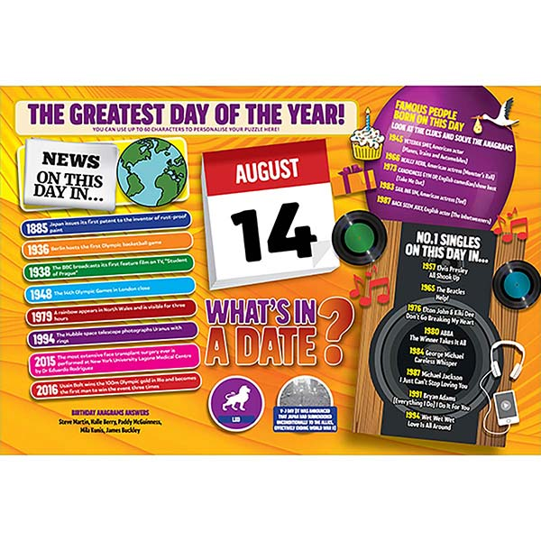 WHAT'S IN A DATE 14th AUGUST PERSONALISED 400 PIECE Image