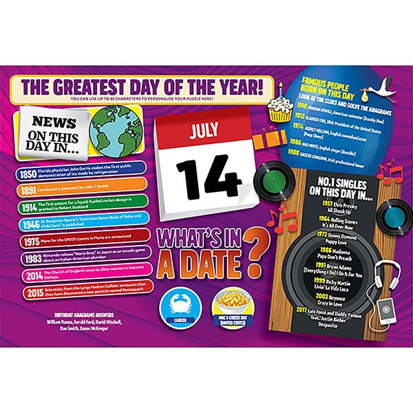 WHAT'S IN A DATE 14th JULY PERSONALISED 400 PIECE Image