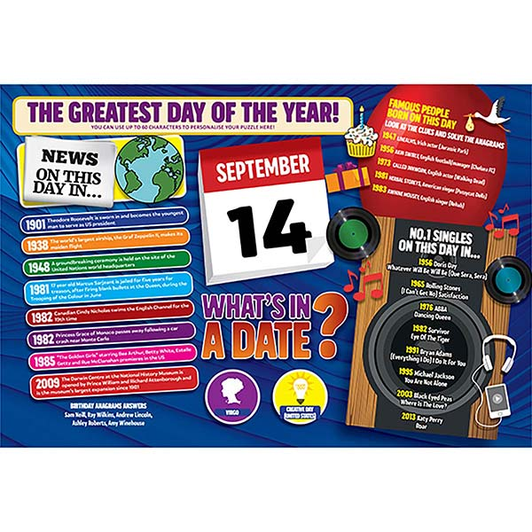 WHAT'S IN A DATE 14th SEPTEMBER PERSONALISED 400 PIECE Image