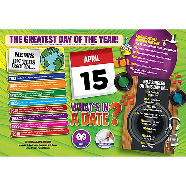 WHAT'S IN A DATE 15th APRIL PERSONALISED 400 PIECE Image