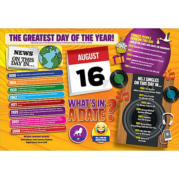 WHAT'S IN A DATE 16th AUGUST PERSONALISED 400 PIECE Image