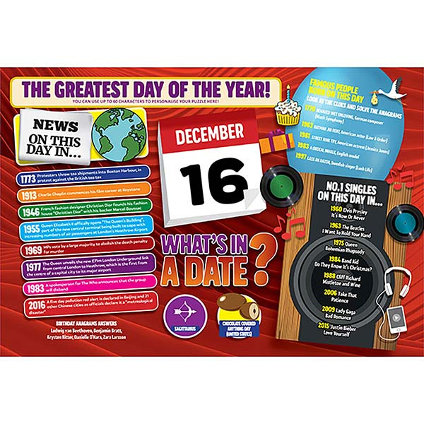 WHAT'S IN A DATE 16th DECEMBER PERSONALISED 400 PIECE Image