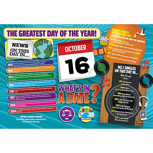 WHAT'S IN A DATE 16th OCTOBER STANDARD 400 PIECE Image