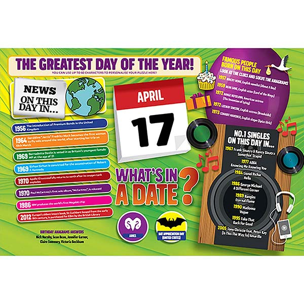 WHAT'S IN A DATE 17th APRIL PERSONALISED 400 PIECE Image
