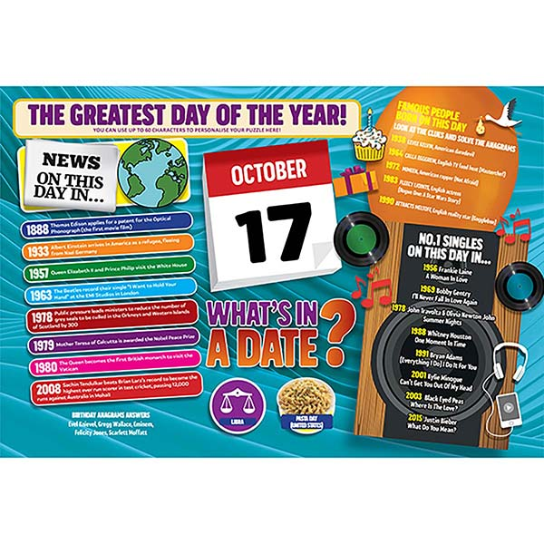 WHAT'S IN A DATE 17th OCTOBER PERSONALISED 400 PIECE Image