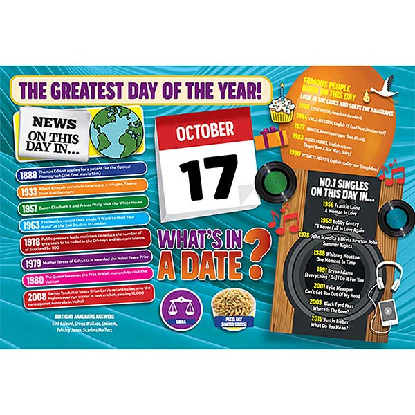 WHAT'S IN A DATE 17th OCTOBER STANDARD 400 PIECE Image
