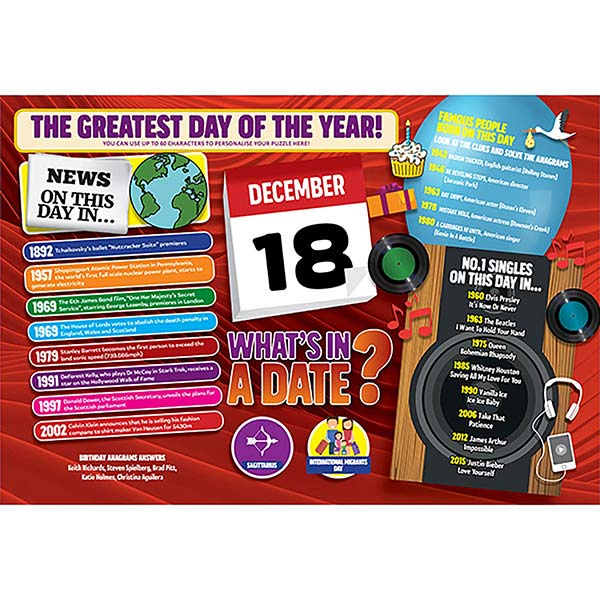 WHAT'S IN A DATE 18th DECEMBER PERSONALISED 400 PIECE Image