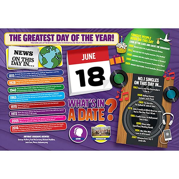 WHAT'S IN A DATE 18th JUNE PERSONALISED 400 PIECE Image
