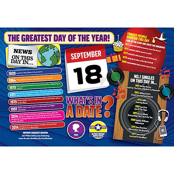 WHAT'S IN A DATE 18th SEPTEMBER STANDARD 400 PIECE Image