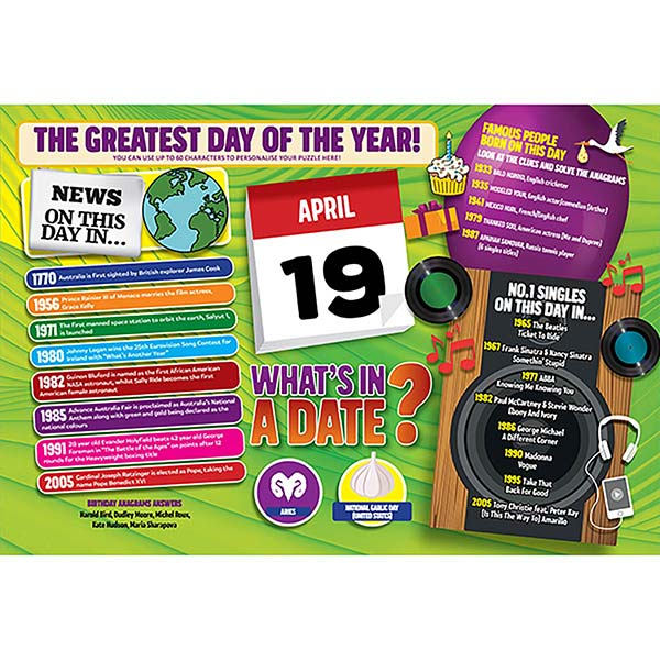 WHAT'S IN A DATE 19th APRIL PERSONALISED 400 PIECE Image