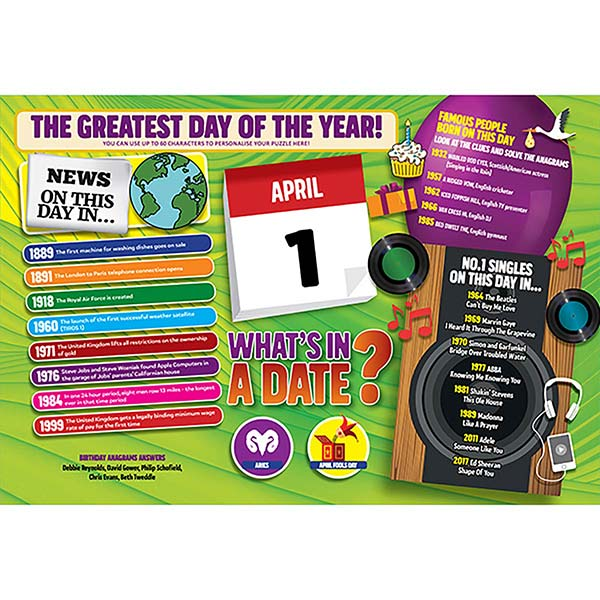 WHAT'S IN A DATE 1st APRIL PERSONALISED 400 PIECE Image