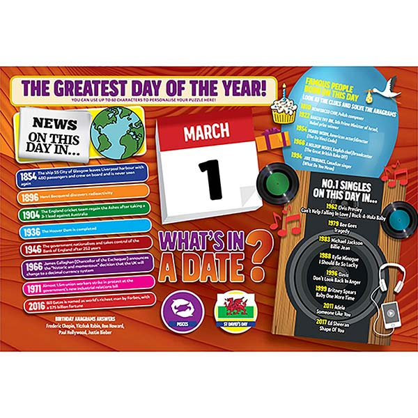 WHAT'S IN A DATE 1st MARCH PERSONALISED 400 PIECE Image