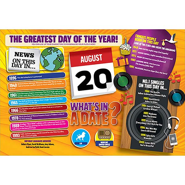 WHAT'S IN A DATE 20th AUGUST PERSONALISED 400 PIECE Image