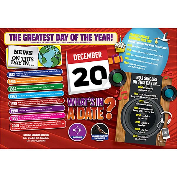 WHAT'S IN A DATE 20th DECEMBER PERSONALISED 400 PIECE Image