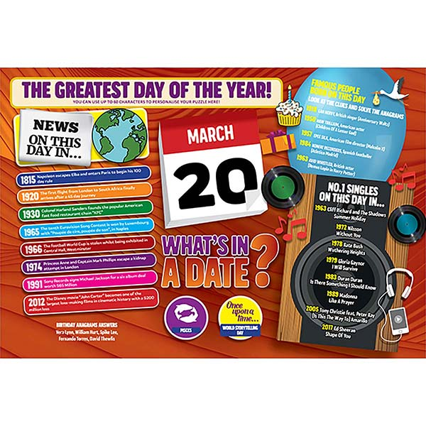 WHAT'S IN A DATE 20th MARCH PERSONALISED 400 PIECE Image