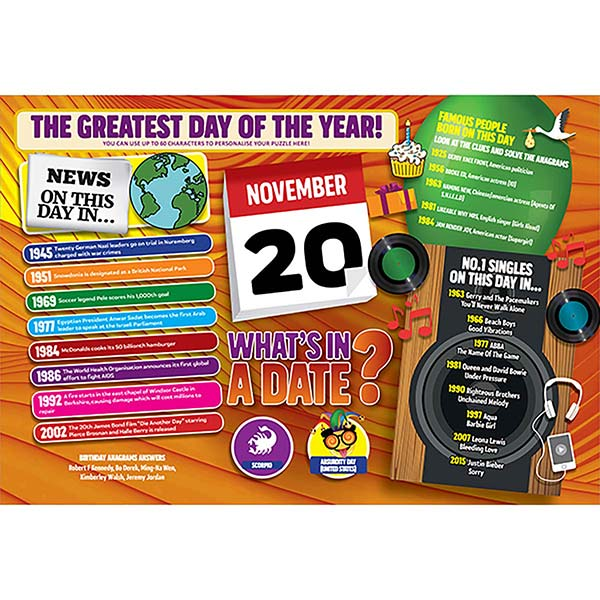 WHAT'S IN A DATE 20th NOVEMBER PERSONALISED 400 PIECE Image