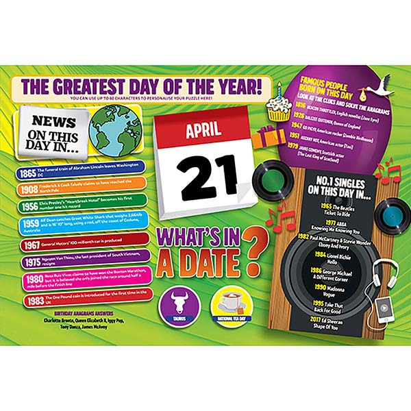 WHAT'S IN A DATE 21st APRIL PERSONALISED 400 PIECE Image