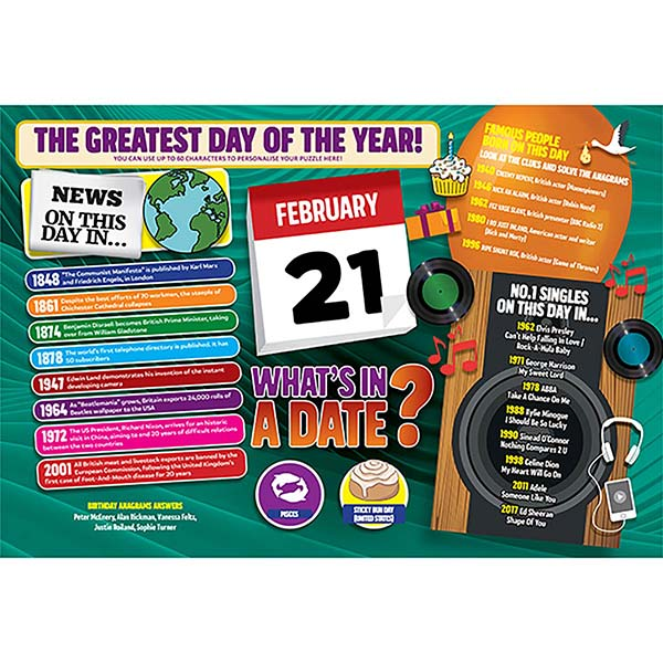 WHAT'S IN A DATE 21st FEBRUARY PERSONALISED 400 PIECE Image