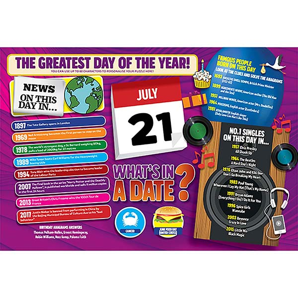 WHAT'S IN A DATE 21st JULY PERSONALISED 400 PIECE Image