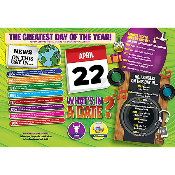 WHAT'S IN A DATE 22nd APRIL PERSONALISED 400 PIECE Image