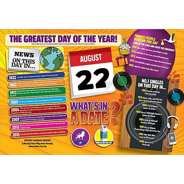 WHAT'S IN A DATE 22nd AUGUST PERSONALISED 400 PIECE Image