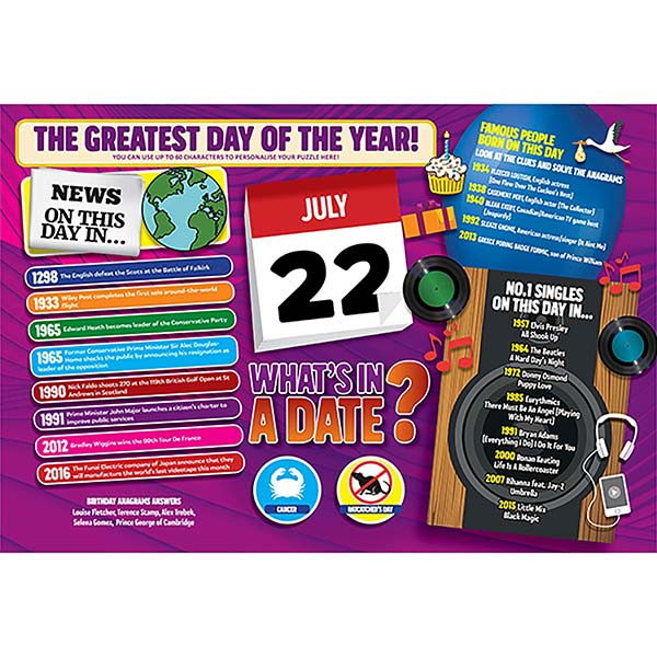 WHAT'S IN A DATE 22nd JULY PERSONALISED 400 PIECE Image
