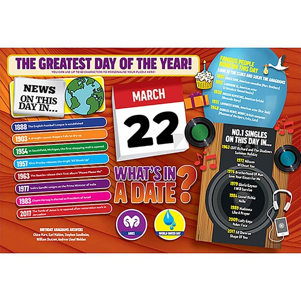 WHAT'S IN A DATE 22nd MARCH PERSONALISED 400 PIECE Image