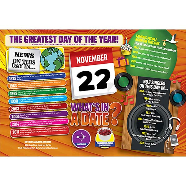 WHAT'S IN A DATE 22nd NOVEMBER PERSONALISED 400 PIECE Image