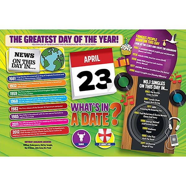 WHAT'S IN A DATE 23rd APRIL PERSONALISED 400 PIECE Image
