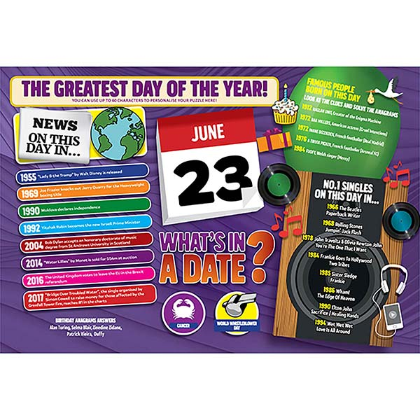 WHAT'S IN A DATE 23rd JUNE PERSONALISED 400 PIECE Image