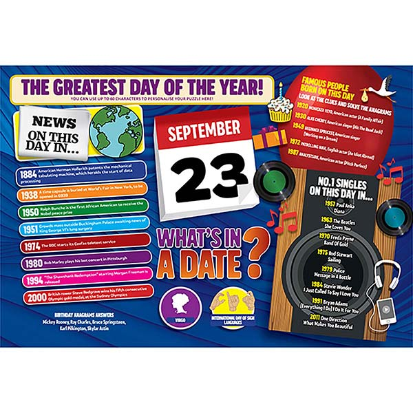 WHAT'S IN A DATE 23rd SEPTEMBER PERSONALISED 400 PIECE Image