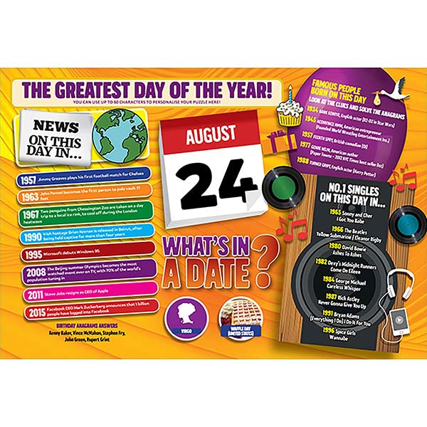 WHAT'S IN A DATE 24th AUGUST PERSONALISED 400 PIECE Image