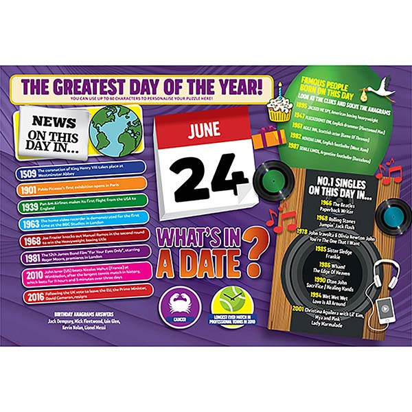 WHAT'S IN A DATE 24th JUNE PERSONALISED 400 PIECE Image