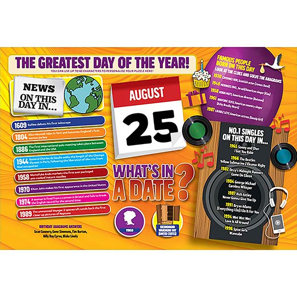 WHAT'S IN A DATE 25th AUGUST PERSONALISED 400 PIECE Image