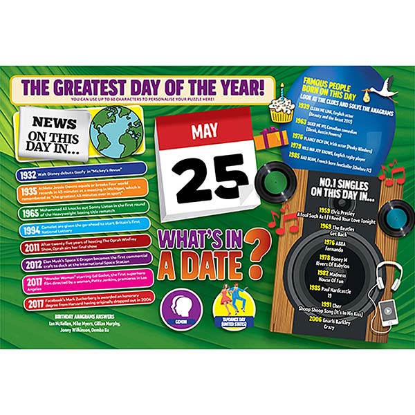 WHAT'S IN A DATE 25th MAY PERSONALISED 400 PIECE Image