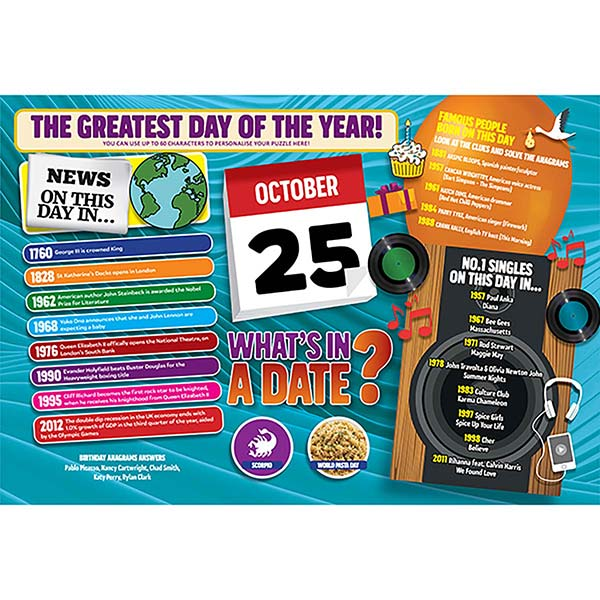 WHAT'S IN A DATE 25th OCTOBER PERSONALISED 400 PIECE Image