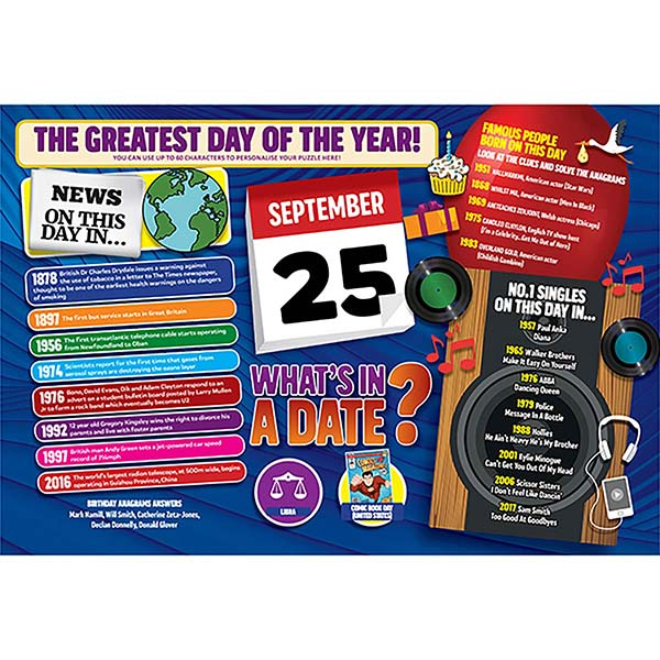 WHAT'S IN A DATE 25th SEPTEMBER PERSONALISED 400 PIECE Image