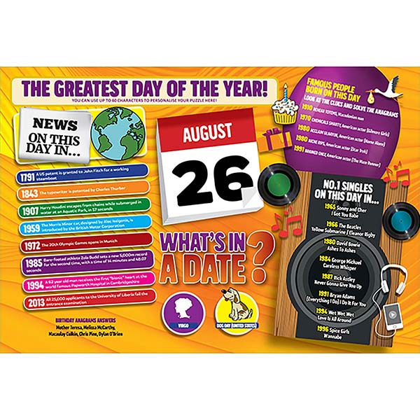 WHAT'S IN A DATE 26th AUGUST PERSONALISED 400 PIECE Image